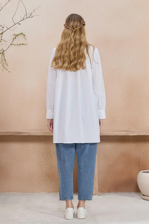 Yakası İşlemeli Tunik Beyaz